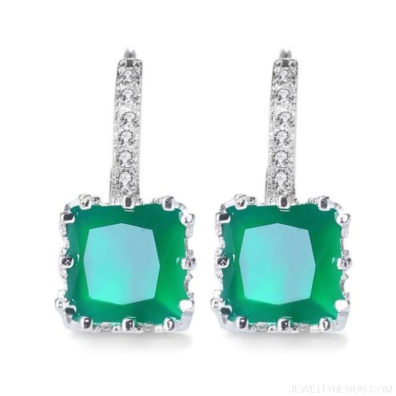 Square Cubic Zirconia Hoop Earrings - Light Green - Custom Made | Free Shipping