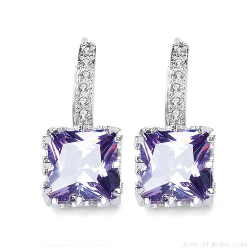 Square Cubic Zirconia Hoop Earrings - Purple - Custom Made | Free Shipping