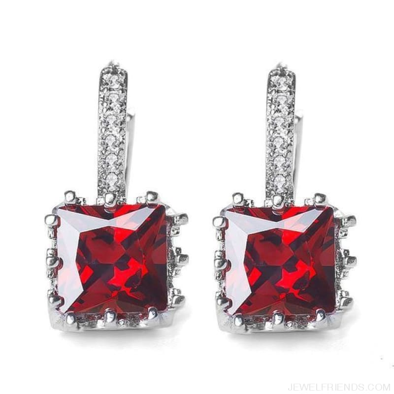 Square Cubic Zirconia Hoop Earrings - Red - Custom Made | Free Shipping