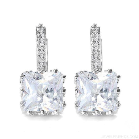 Image of Square Cubic Zirconia Hoop Earrings - White - Custom Made | Free Shipping