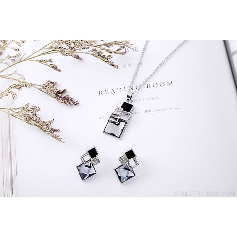 Square Geometry Crystal Jewelry Set - Custom Made | Free Shipping
