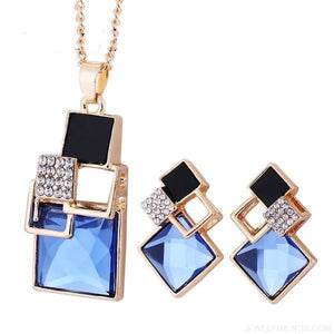 Square Geometry Crystal Jewelry Set - T012 Gold Blue - Custom Made | Free Shipping