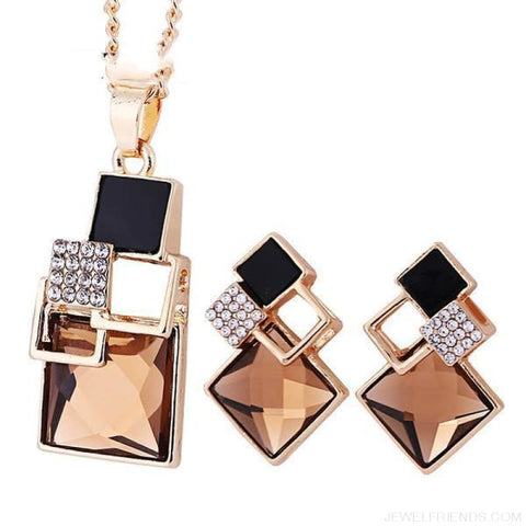 Square Geometry Crystal Jewelry Set - T012 Gold Champagne - Custom Made | Free Shipping