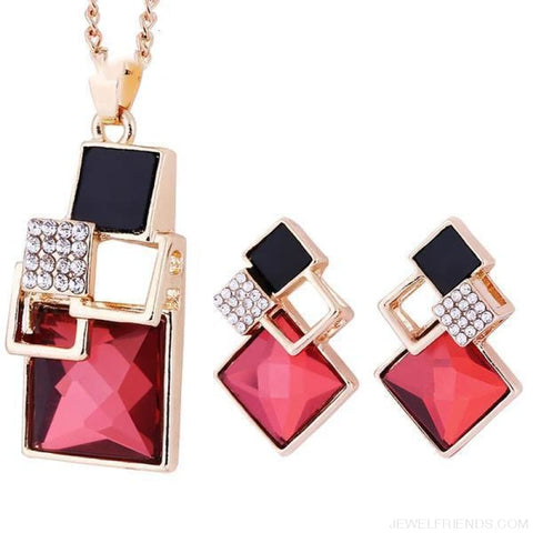 Square Geometry Crystal Jewelry Set - T012 Gold Red - Custom Made | Free Shipping