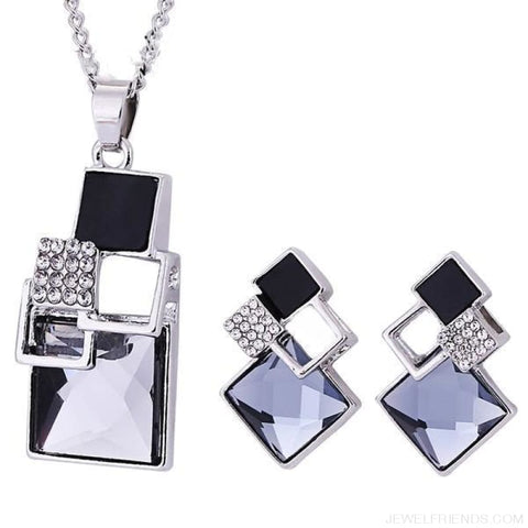 Square Geometry Crystal Jewelry Set - T012 Silver Black - Custom Made | Free Shipping