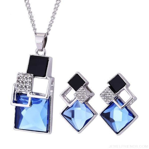 Square Geometry Crystal Jewelry Set - T012 Silver Blue - Custom Made | Free Shipping