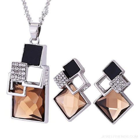 Square Geometry Crystal Jewelry Set - T012 Silver Champagn - Custom Made | Free Shipping