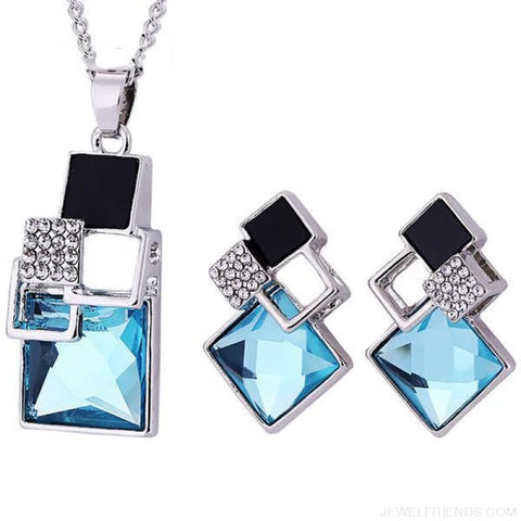 Square Geometry Crystal Jewelry Set - T012 Silver Sky Blue - Custom Made | Free Shipping