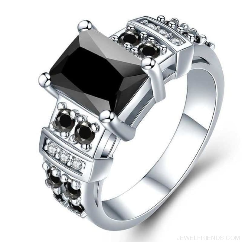 Square Shape Clear Aaa Zircon Wedding Ring - 10 / Black - Custom Made | Free Shipping
