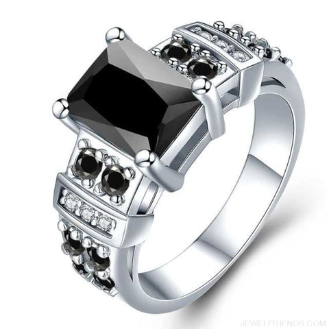 Image of Square Shape Clear Aaa Zircon Wedding Ring - 10 / Black - Custom Made | Free Shipping