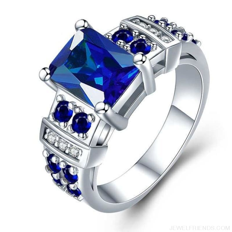 Square Shape Clear Aaa Zircon Wedding Ring - 10 / Dark Blue - Custom Made | Free Shipping