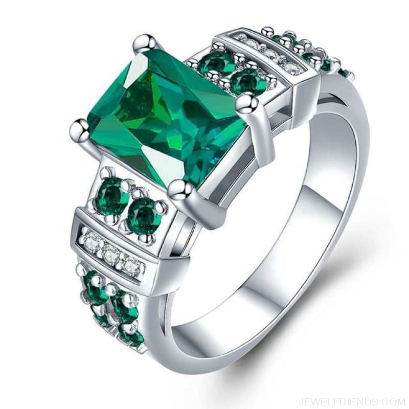 Square Shape Clear Aaa Zircon Wedding Ring - 10 / Green - Custom Made | Free Shipping