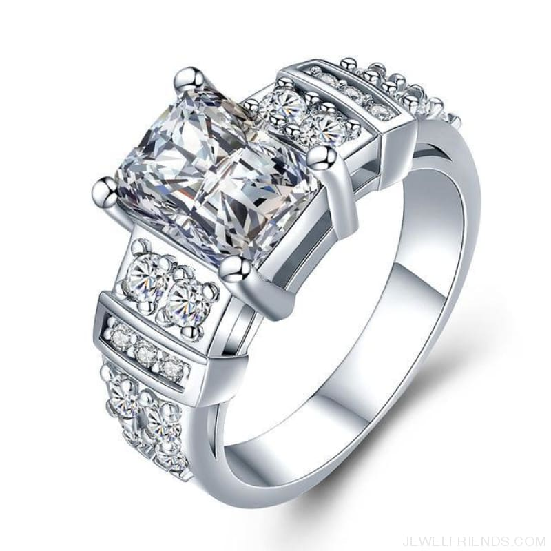 Square Shape Clear Aaa Zircon Wedding Ring - 10 / Clear - Custom Made | Free Shipping