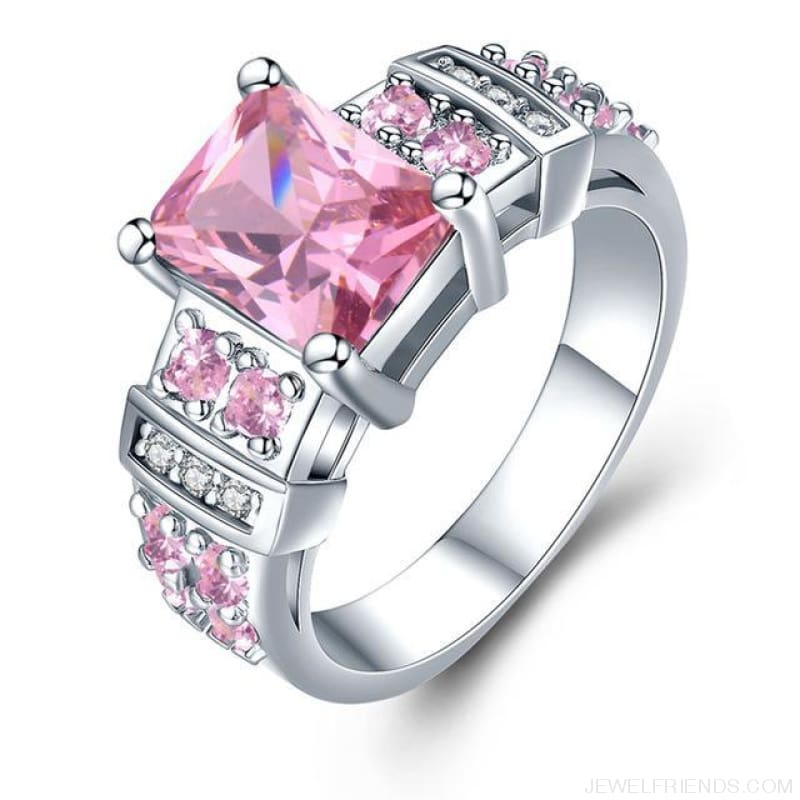 Square Shape Clear Aaa Zircon Wedding Ring - 10 / Pink - Custom Made | Free Shipping