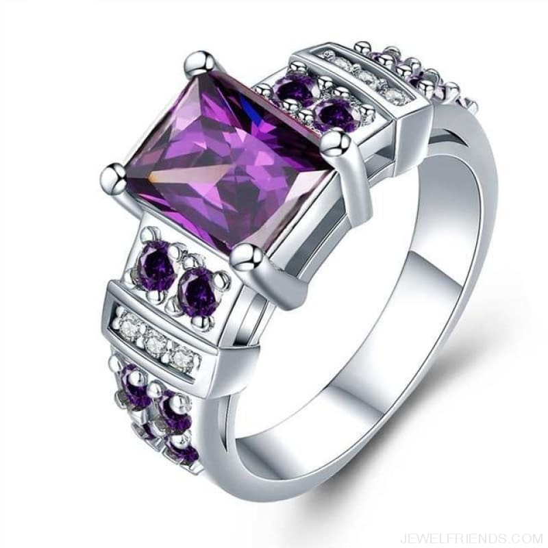 Square Shape Clear Aaa Zircon Wedding Ring - 10 / Purple - Custom Made | Free Shipping
