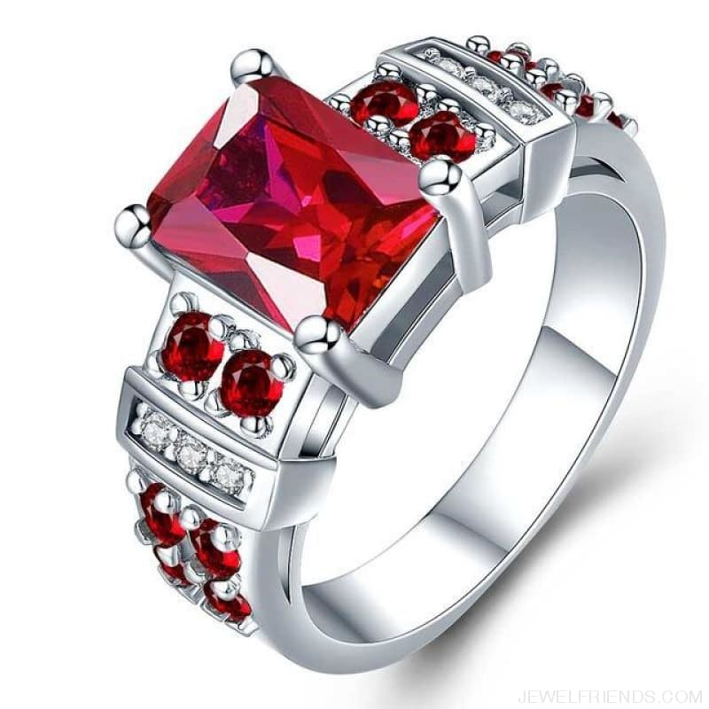 Square Shape Clear Aaa Zircon Wedding Ring - 10 / Red - Custom Made | Free Shipping