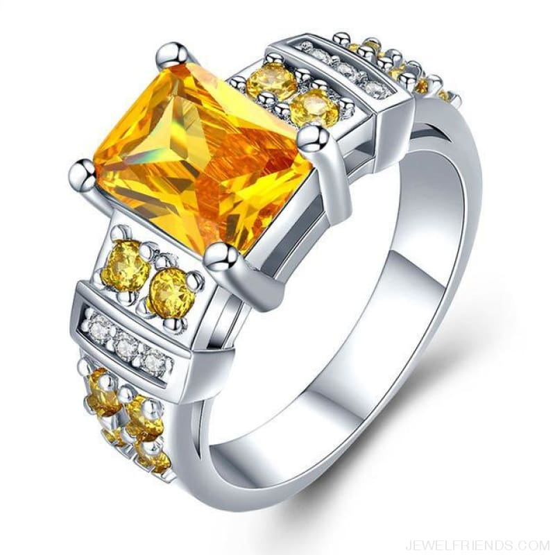 Square Shape Clear Aaa Zircon Wedding Ring - 10 / Yellow - Custom Made | Free Shipping