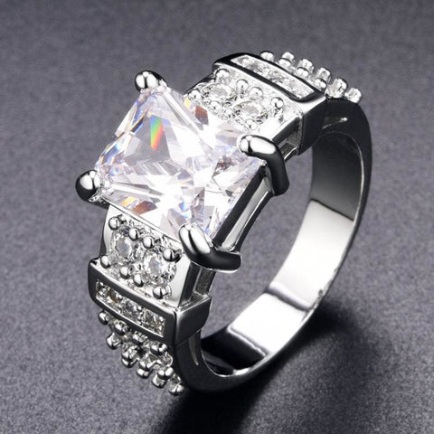 Image of Square Shape Clear Aaa Zircon Wedding Ring - Custom Made | Free Shipping