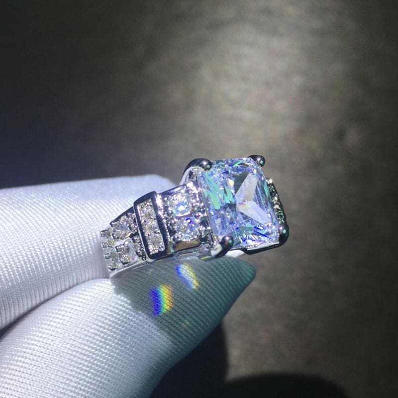 Square Shape Clear Aaa Zircon Wedding Ring - Custom Made | Free Shipping