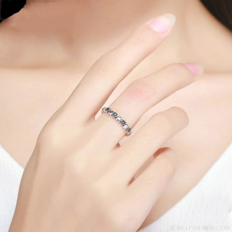 Stackable Heart Black Ring 925 Sterling Silver - Custom Made | Free Shipping