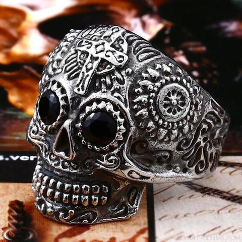Stainless Steel Carving Kapala Skull Mask Ring - 11 / White With Black Eye / Us Size - Custom Made | Free Shipping