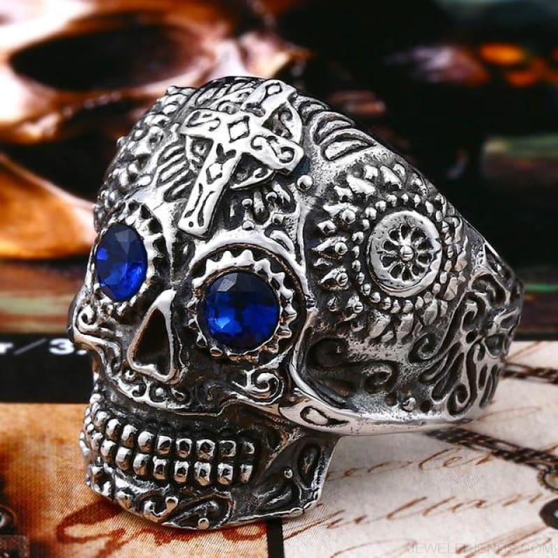 Stainless Steel Carving Kapala Skull Mask Ring - 11 / White With Blue Eye / Us Size - Custom Made | Free Shipping