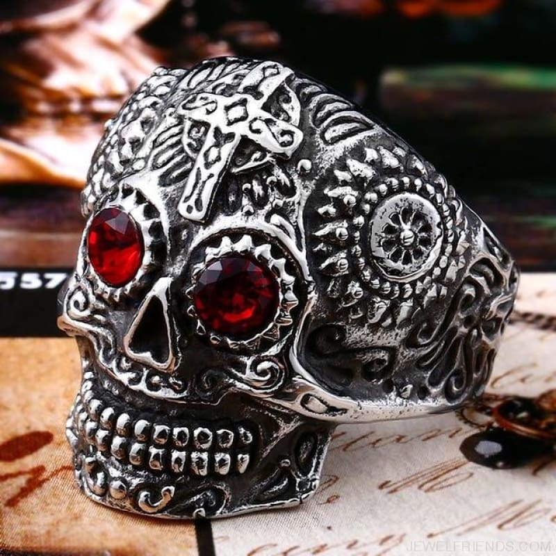 Stainless Steel Carving Kapala Skull Mask Ring - 11 / White With Red Eye / Us Size - Custom Made | Free Shipping