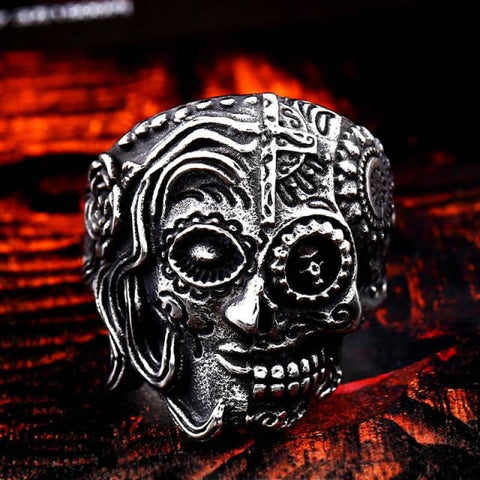 Stainless Steel Carving Kapala Skull Mask Ring - 11 / With Half Skull / Us Size - Custom Made | Free Shipping