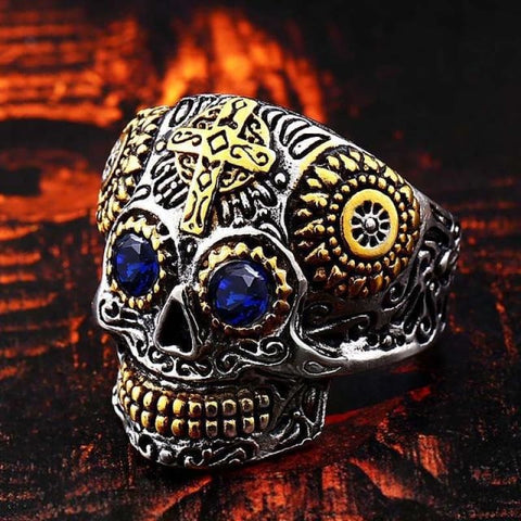 Stainless Steel Carving Kapala Skull Mask Ring - 7 / Blue Eye / Us Size - Custom Made | Free Shipping