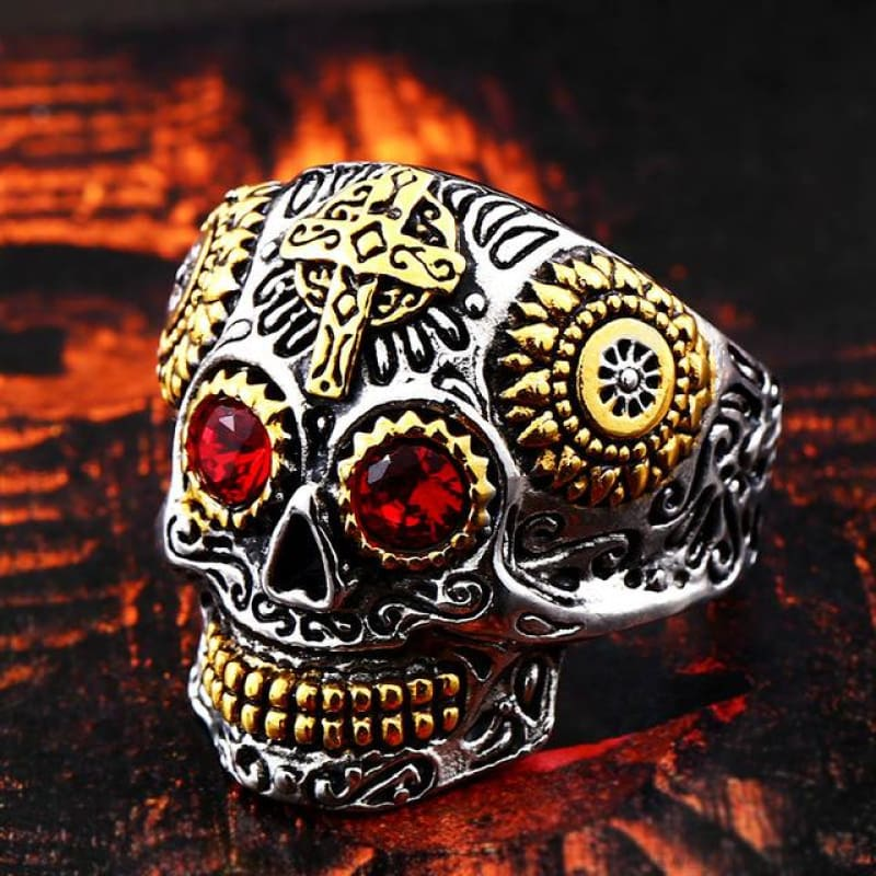 Stainless Steel Carving Kapala Skull Mask Ring - 7 / Red Eye / Us Size - Custom Made | Free Shipping