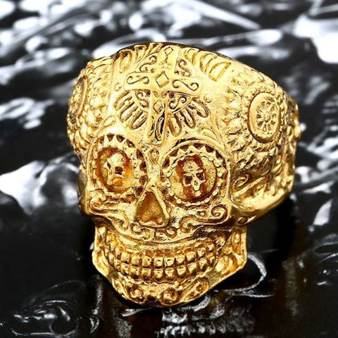 Stainless Steel Carving Kapala Skull Mask Ring - 8 / Full Gold Colour / Us Size - Custom Made | Free Shipping