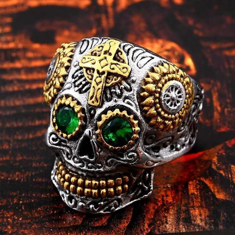 Image of Stainless Steel Carving Kapala Skull Mask Ring - 8 / Green Eye / Us Size - Custom Made | Free Shipping