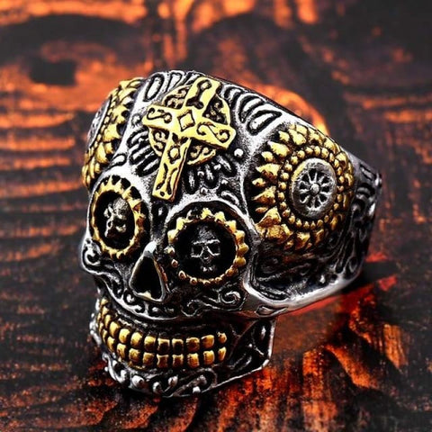 Image of Stainless Steel Carving Kapala Skull Mask Ring - 8 / Part Gold Colour / Us Size - Custom Made | Free Shipping
