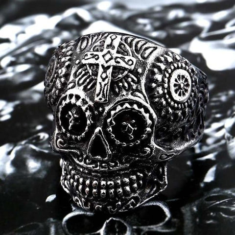 Stainless Steel Carving Kapala Skull Mask Ring - 8 / Silver Colour / Us Size - Custom Made | Free Shipping
