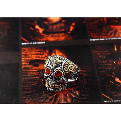 Image of Stainless Steel Carving Kapala Skull Mask Ring - Custom Made | Free Shipping