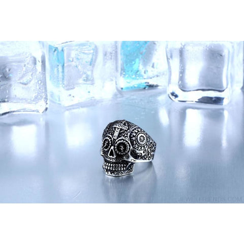 Stainless Steel Carving Kapala Skull Mask Ring - Custom Made | Free Shipping