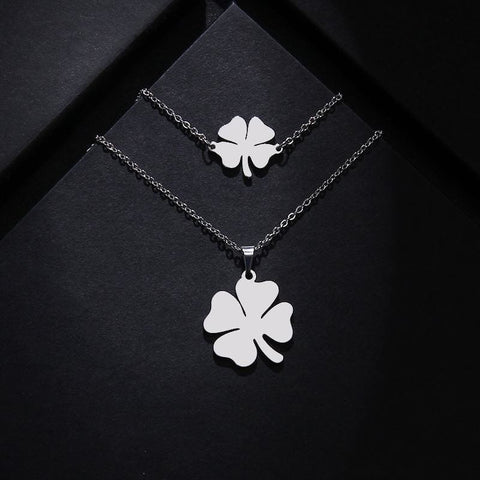 Stainless Steel Clover Shape Jewelry Set - Custom Made | Free Shipping
