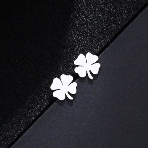 Stainless Steel Clover Shape Jewelry Set - Silver 2 - Custom Made | Free Shipping