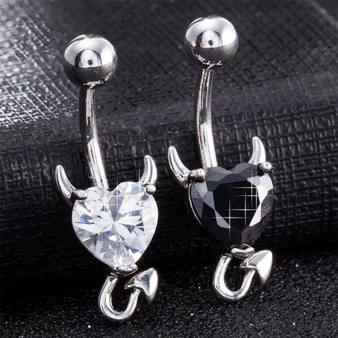 Stainless Steel Crystal Devil Heart Navel Piercing - Custom Made | Free Shipping