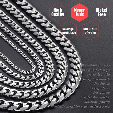 Image of Stainless Steel Gold Silver Black 3/5/7/9/11Mm Chain Necklaces - Custom Made | Free Shipping