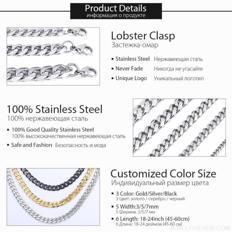 Stainless Steel Gold Silver Black 3/5/7/9/11Mm Chain Necklaces - Custom Made | Free Shipping
