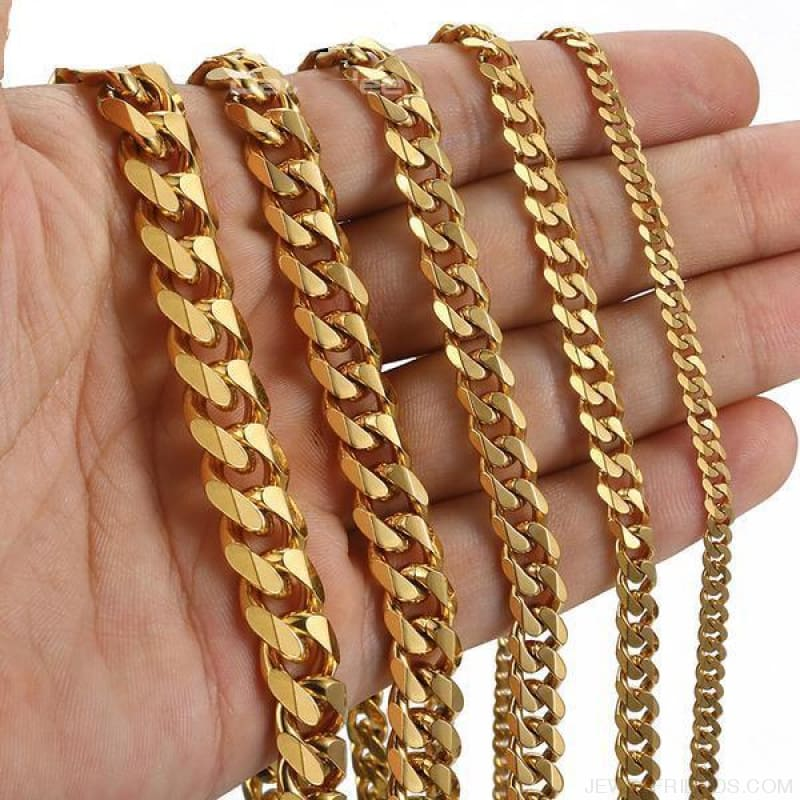 Stainless Steel Gold Silver Black 3/5/7/9/11Mm Chain Necklaces - Gold Tone / 5Mm Wide / 30Inch 75Cm - Custom Made | Free Shipping