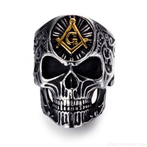 Stainless Steel Masonic Skull Ring - 10 / Gold - Custom Made | Free Shipping