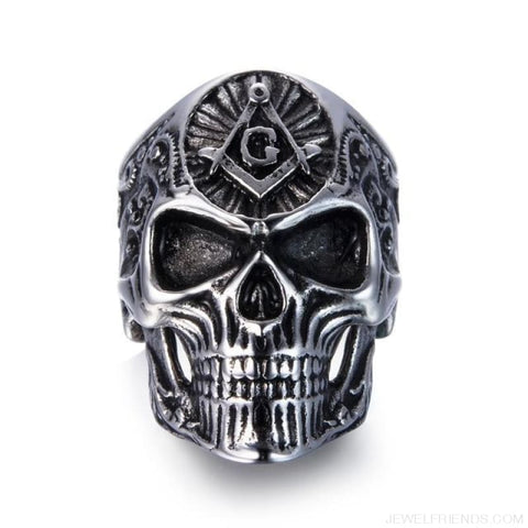 Stainless Steel Masonic Skull Ring - 10 / Silver - Custom Made | Free Shipping