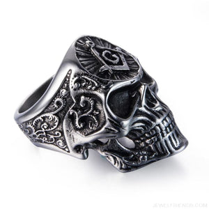 Stainless Steel Masonic Skull Ring