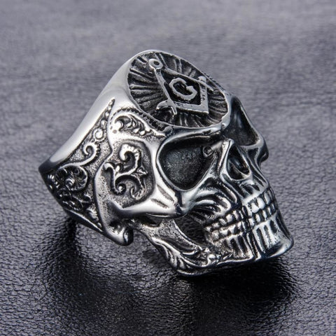 Stainless Steel Masonic Skull Ring - Custom Made | Free Shipping