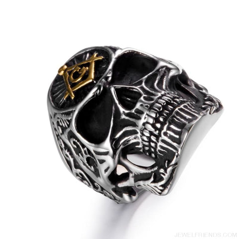 Image of Stainless Steel Masonic Skull Ring - Custom Made | Free Shipping