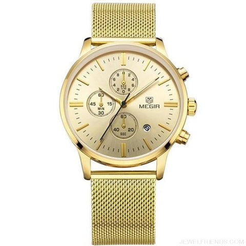 Stainless Steel Mesh Band Quartz Sport Watch Chronograph - Gold - Custom Made | Free Shipping