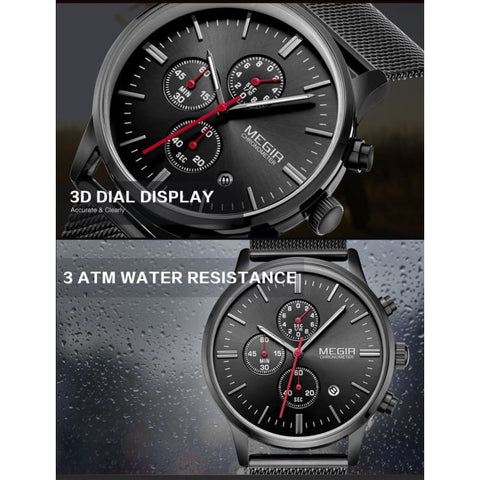 Stainless Steel Mesh Band Quartz Sport Watch Chronograph - Custom Made | Free Shipping