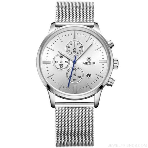 Stainless Steel Mesh Band Quartz Sport Watch Chronograph - Silver - Custom Made | Free Shipping